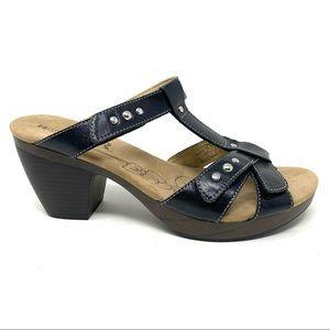 Romika Nancy 02 black leather heeled sandals